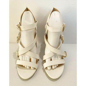 Liliana White Chunky Block High Heel Sandal 10 NEW